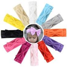 Bandeaux en coton avec nœud papillon pour petites filles   Bandeau coloré princesse, bandes élastiques pour cheveux, accessoires de cheveux