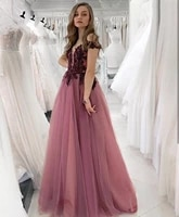 elegant evening dress 2020 floor length sexy v neck lace appliques crystal beading off shoulder women formal party gowns charm