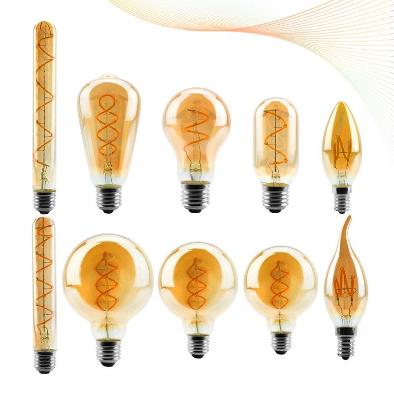 Светодиодный ная винтажная лампа накаливания C35 T45 ST64 G80 G95 G125, винтажные декоративсветильник приглушаемые лампы Эдисона 4 Вт 2200K