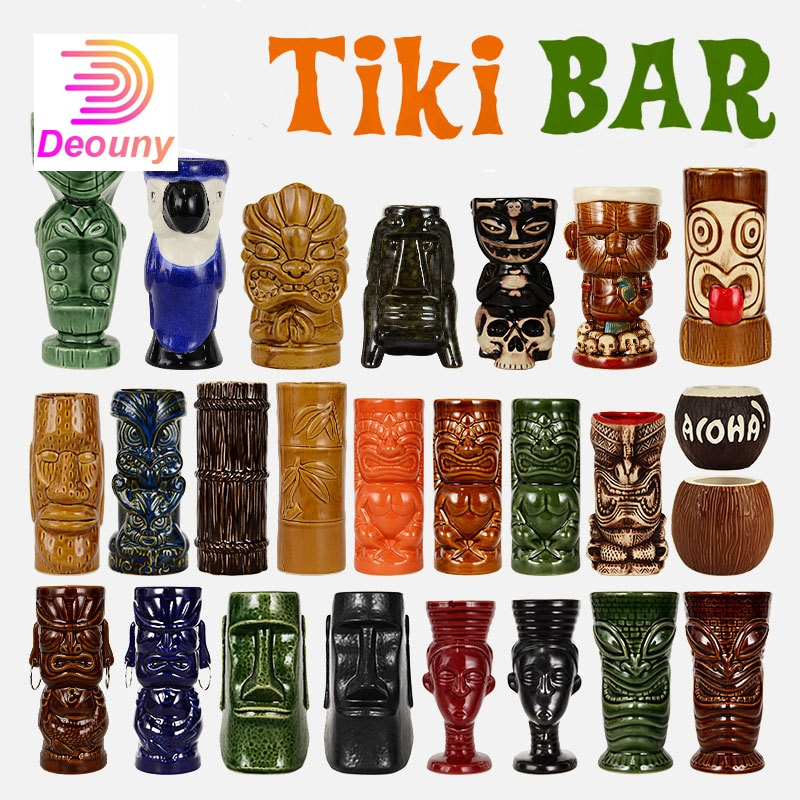 DEOUNY بار السيراميك تيكي القدح شخصية هاواي كوكتيل الزجاج الإبداعية كأس غيبوبة كأس للنبيذ أدوات المائدة
