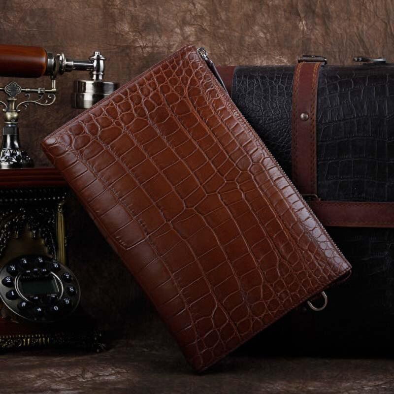 ourui new selling true crocodile leather men bag men clutch bag   Male big bamboo men hand bag