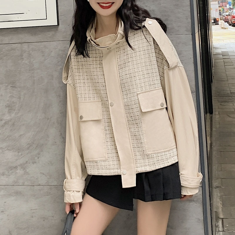 Spring Autumn Faux Leather PU Jackets Women Long Sleeve Short Jacket Black Beige Chic Street Spliced Loose Outerwewar Motobiker enlarge