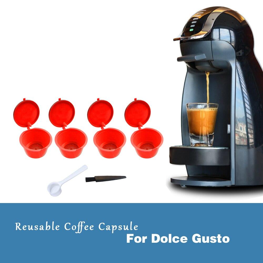 4 шт. многоразового использования капсулы для кофе dolce&gusto Nescafe Dolce Gusto многоразового пользования капсулы dolce&gusto с 2 мерные ложки в комплекте шт...