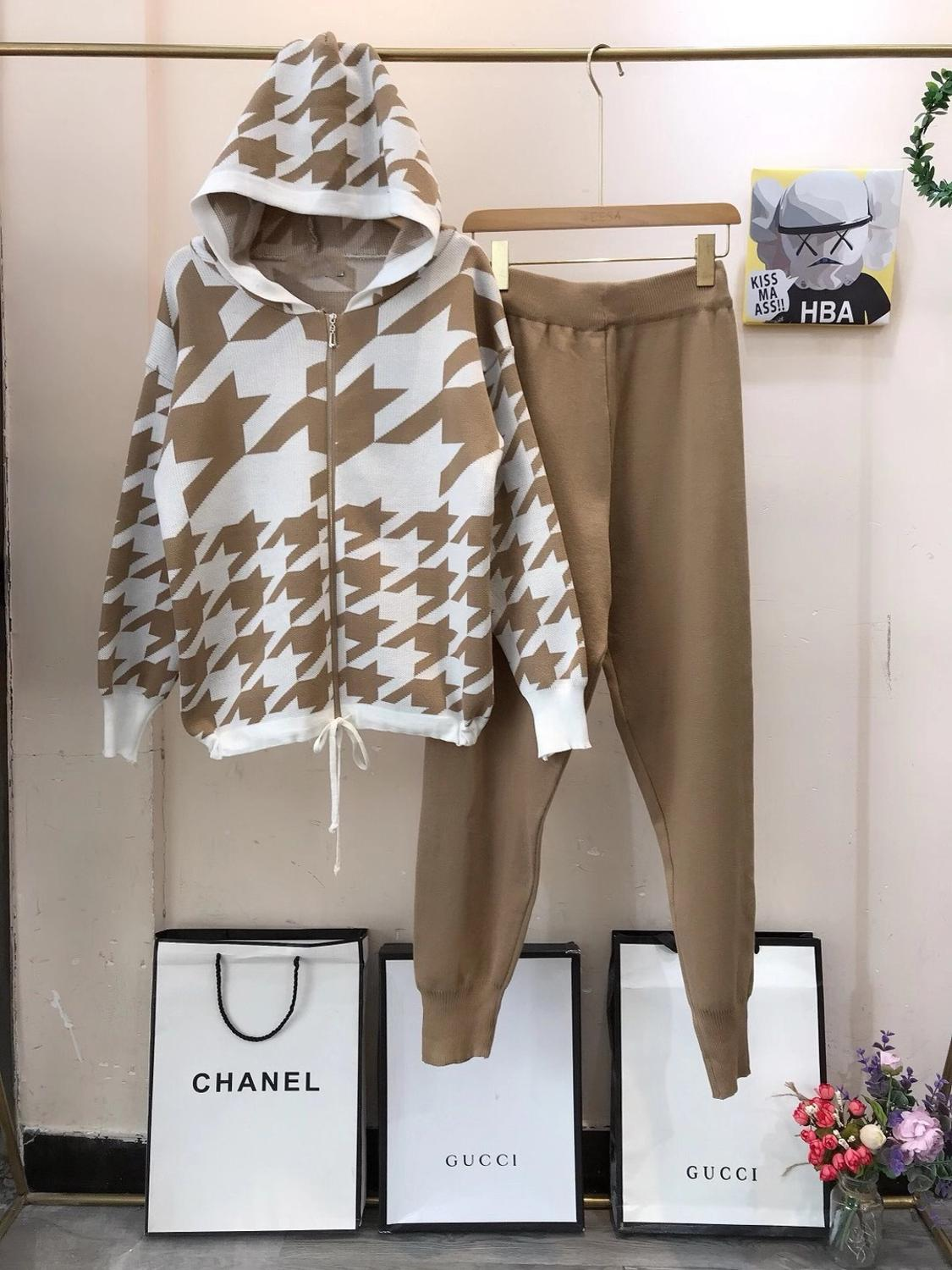 Women Knit Plaids Hooded Sweater Cardigans + Pants Tracksuits Set Casual Knitted Plaid Jacekts Suits For Woman