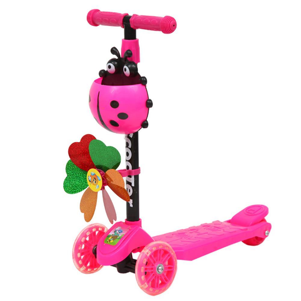 Ветряная мельница, божья коровка, самокат, складной и регулируемый по высоте, самокат с 3 колесами для малышей, детей, мальчиков, девочек, От 3 до 8 лет