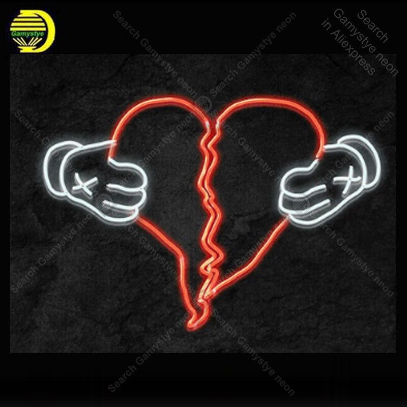 النيون علامة لتمزيق القلب اليد لمبات النيون تسجيل مبدع البيرة الحب الحرفية مصابيح مخصصة الإعلان Letrero enseigne lumine