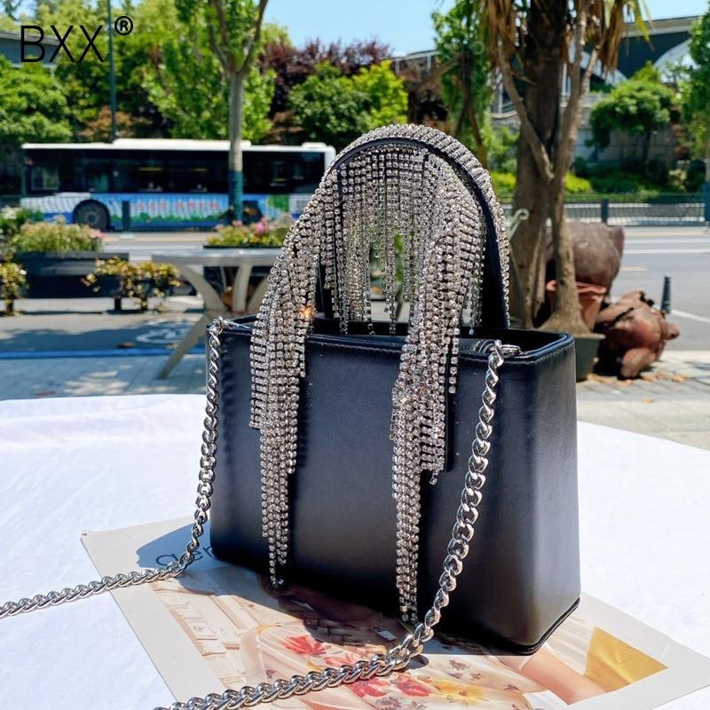 [BXX] Genuine Leather Diamonds Tassel Bags For Women 2021 Fashion Travel Handbag Solid Color Summer Crossbody Shoulder Bag HM267