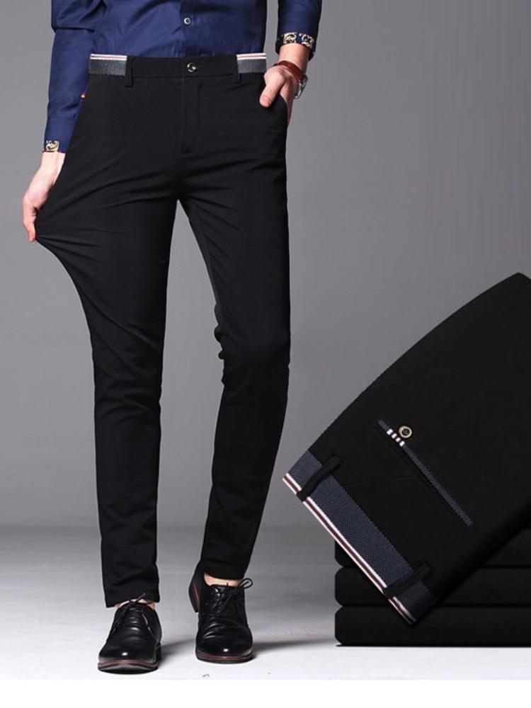 Мужские весенне-осенние модные деловые повседневные длинные брюки, Костюмные брюки, мужские эластичные прямые формальные брюки, мужские бр...