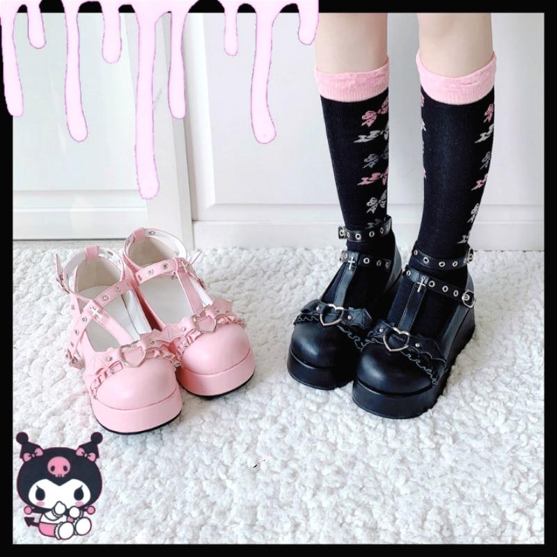 Develia-حذاء من البولي يوريثان مع فيونكة على طراز Little Bat ، حذاء من البولي يوريثان عالي الكعب 5.5 سنتيمتر ، مع منصة لوليتا ، نمط Kawaii