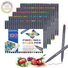 Fineliner stylo ensemble 12 24 36 48 60 100 couleurs 0.4mm Micron Liner pour marqueur métallique dessiner stylo couleur croquis marqueur Art ensemble école