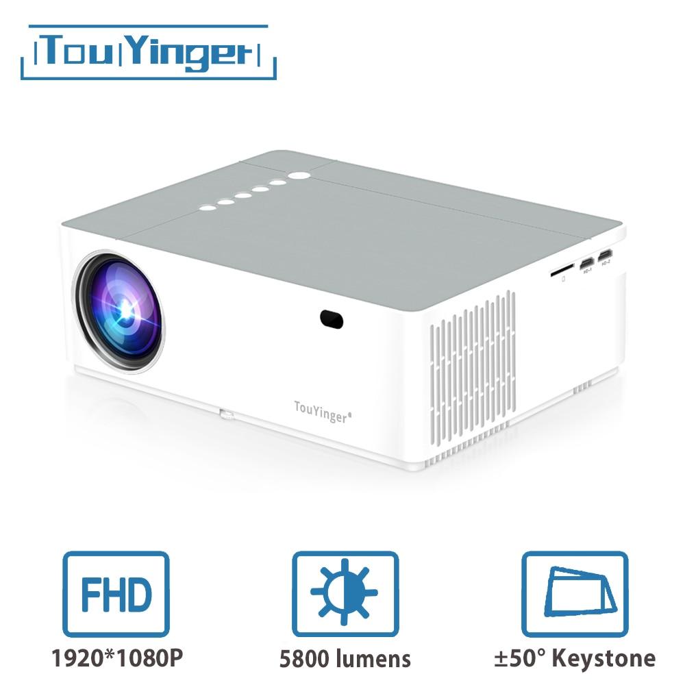 Touyinger m19 melhor led projetor de vídeo de cinema em casa led completo hd 1080 p 5800lumen ac3 fhd 3d filme beamer hdmi usb projetores dados