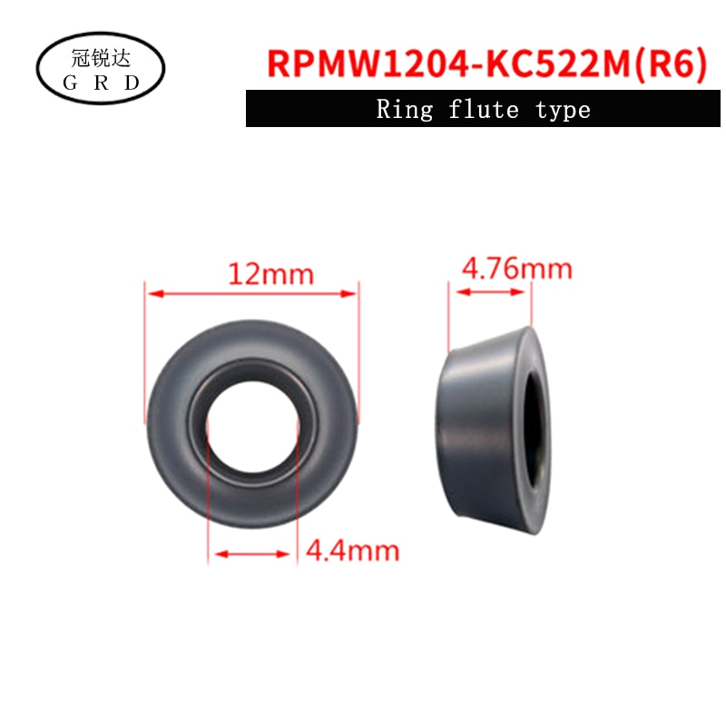 100% new R5 R6 round Insert RPMW RPMW1204 RPMW1003 blade KC522M for processing HRC48-68 degrees less than quenching material enlarge