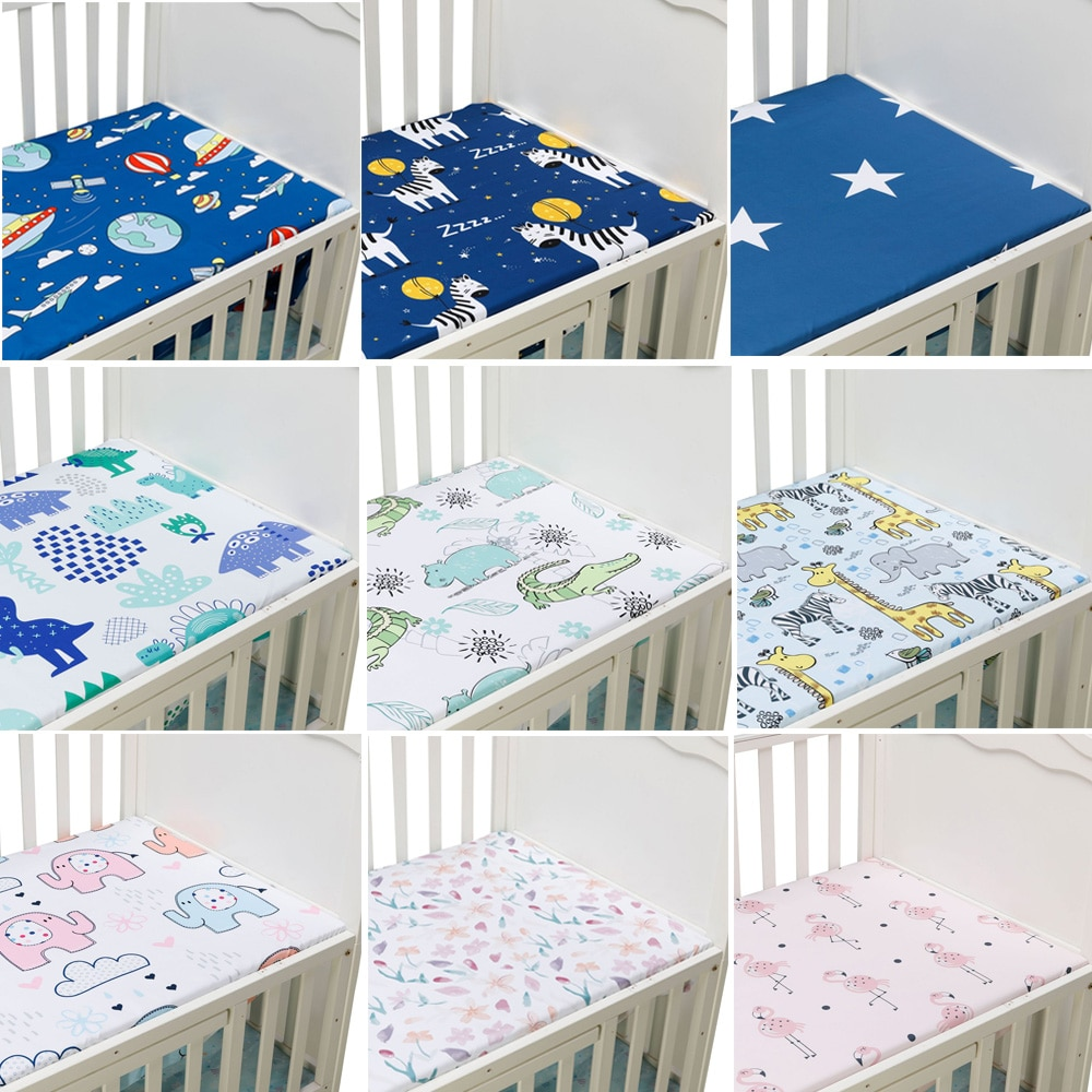 Newborn Baby Crib Fitted Sheet Baby Bed Mattress Cover Soft Breathable Cartoon Print Newborn Bedding For Cot Size 130*70cm