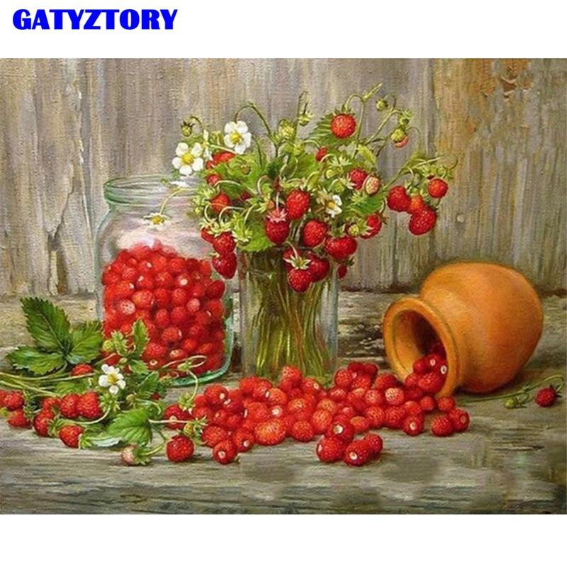 Marco gatyztory fruta de fresa DIY Kits de pintura por números Digital pintado a mano moderno cuadro sobre lienzo para pared para obra de arte