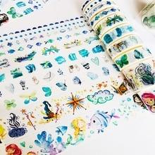 10 rollen/Box Blau Stil Meerjungfrau Unter Meer Washi Masking Tape Set Album Scrapbooking Decor Hand Konto