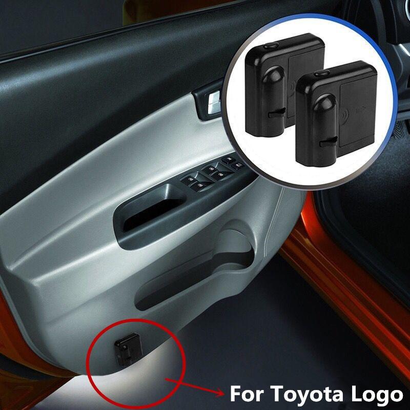 2 uds coche LED proyector de Logo para puerta luz para Toyota Camry Rav4 Verso Avensis Corolla Yaris Toyota Celica Auris Hilux Prius Fortuner 2020