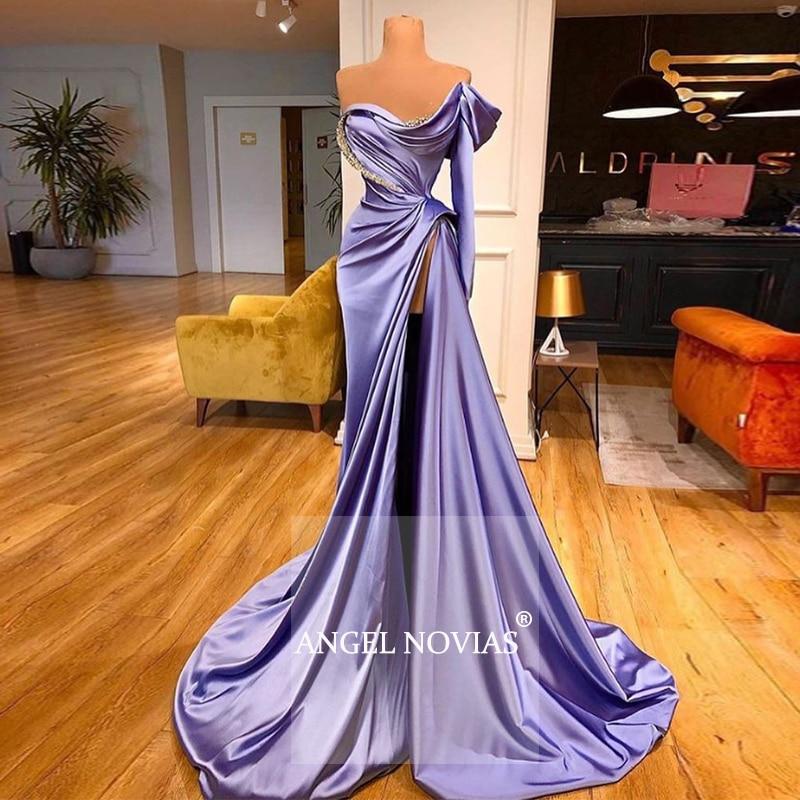 Vestido de noche largo de sirena púrpura árabe 2020 kaftan Dubai Vestidos Elegantes largos Vestido de fiesta de graduación