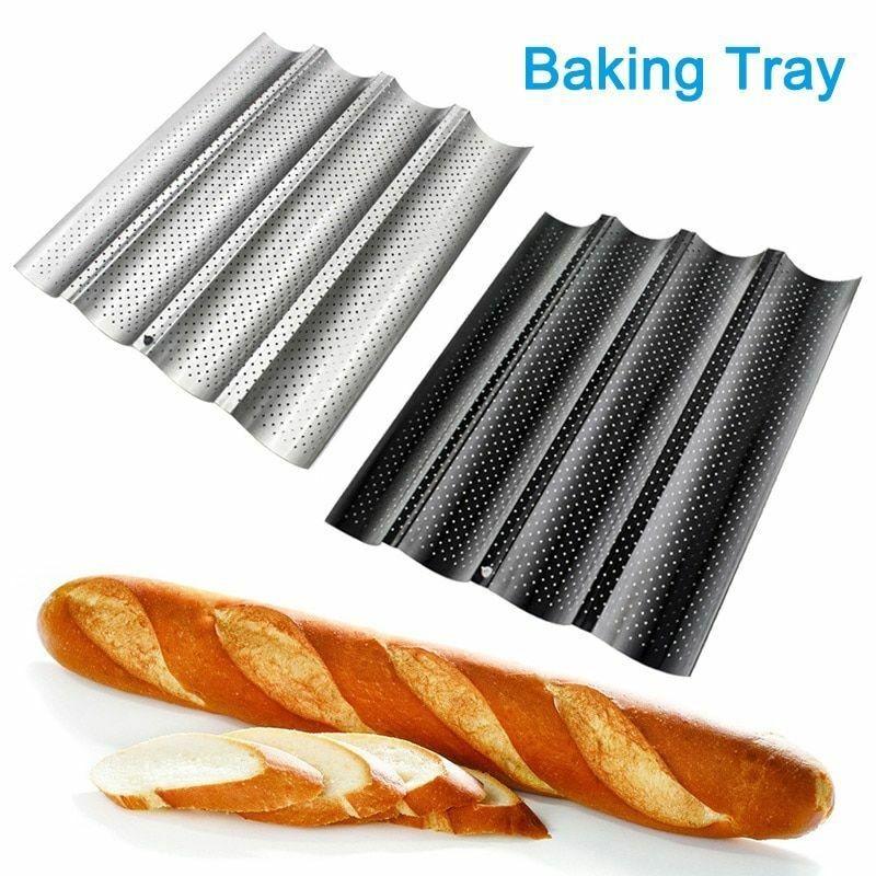 Molde antiadherente para Pan, molde perforado para Pan francés, molde para Baguette, utensilios de repostería de acero inoxidable, 1 ud.