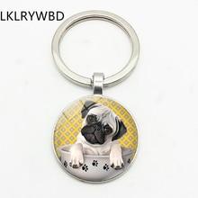 LKLRYWBD mignon carlin thé tasse chien porte-clés porte-clés bijoux pendentif convexe verre porte-clés amis cadeau