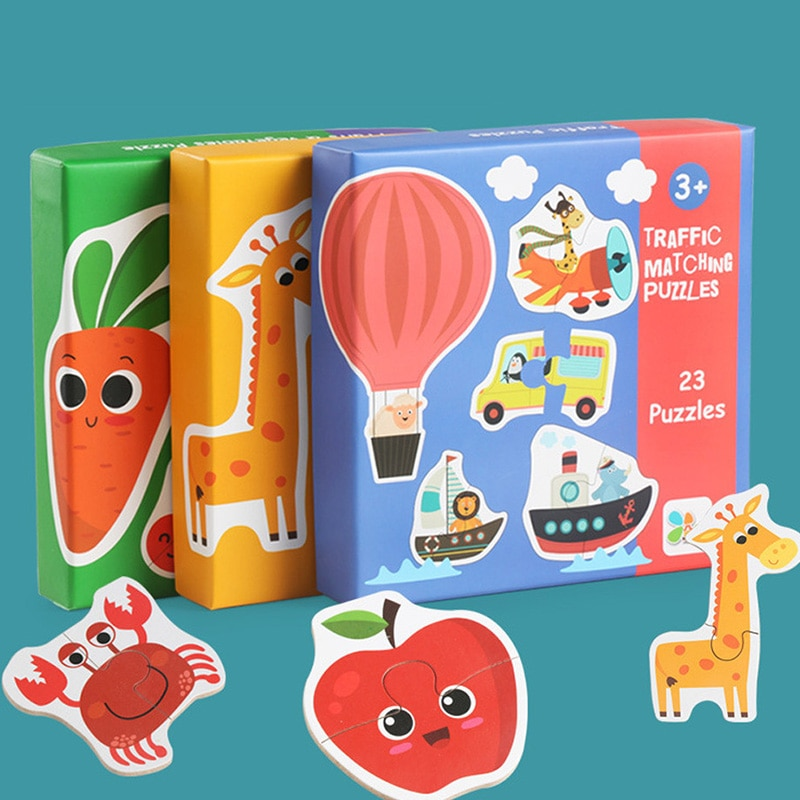logwood baby wooden toys wooden block 26pcs learning educational toys for children animal words letter learn gifts for baby Kids Baby Wooden Wood Cognition Puzzle Learning Educational Toy Christmas Gifts For Kid Developmental Baby Toys