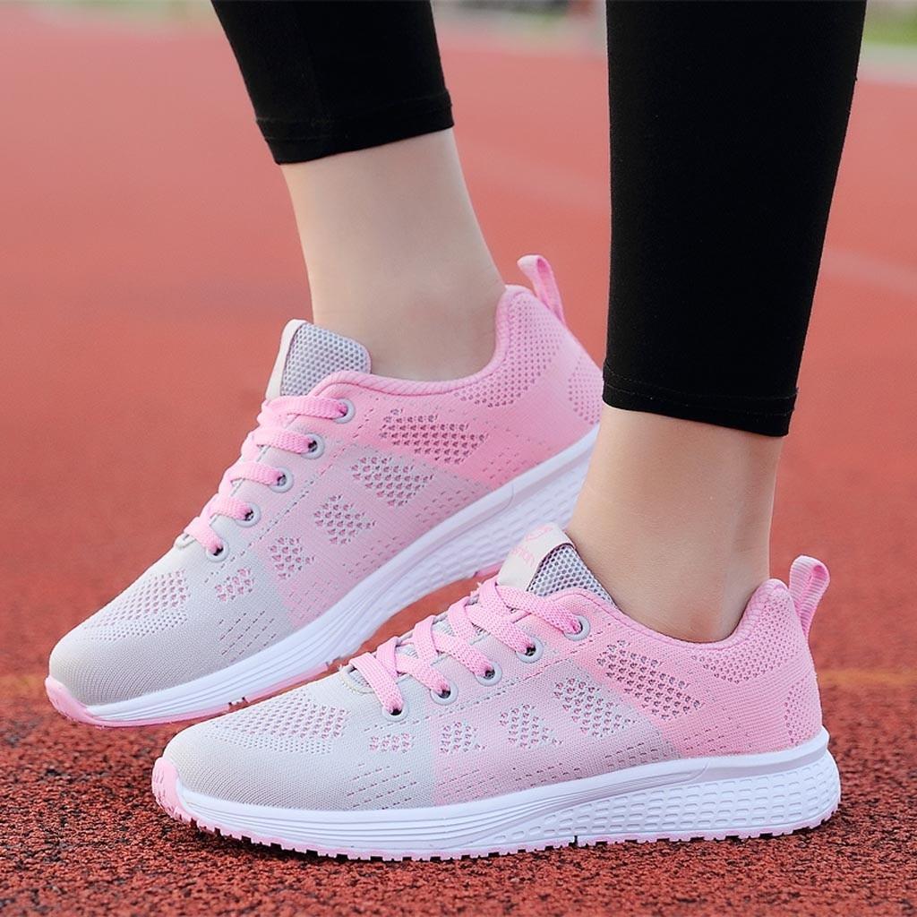 Женские кроссовки; розовые кроссовки для бега; женская сетчатая однотонная Нескользящая повседневная обувь со шнуровкой на полукеды; Студенческая обувь для бега; # g4