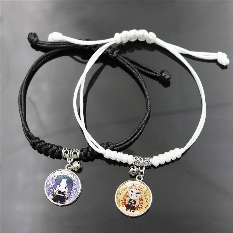 Pulsera tejida hecha a mano, Pulseras Kochou Shinobu, brazaletes para mujer, joyería redonda ajustable para parejas, Pulseras de Anime Demon Slayer