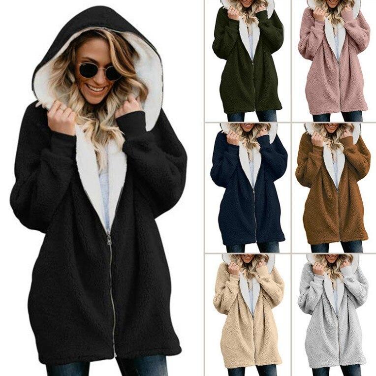 Флисовые женские толстовки, пальто средней длины на осень и зиму 2021, утепленные толстовки, пальто с капюшоном, верхняя одежда