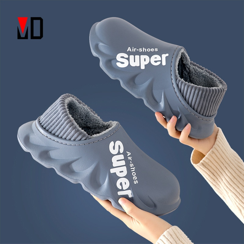 2021 New Winter Slippers Warm Men Shoes Waterproof Women Couples Non-Slip Plush Cotton Indoor Outdoo