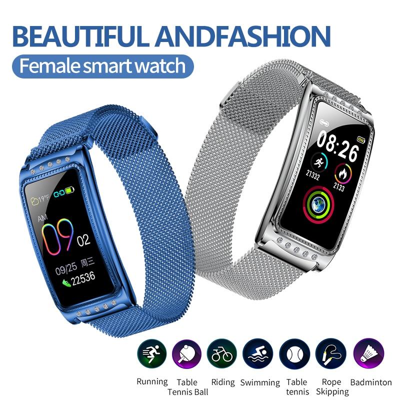 Reloj inteligente pulsera de mujer pulsera de Fitness relojes de Punta pulseras de salud actividad deportiva reloj tonómetro pulsometro