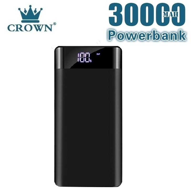 30000mAh Powerbank Portable Charging Poverbank Mobile Phone External Battery Charger Power Bank for