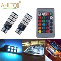 2pcs auto interior decoration lamp t10 w5w 5050 atmosphere car light rgb 12 led with remote controller colorful reading blub 12v