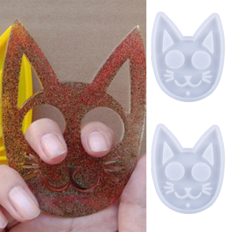 Super Glossy Self-defense Cat Keychain Crystal Epoxy Resin Mold Silicone Mould R3MC