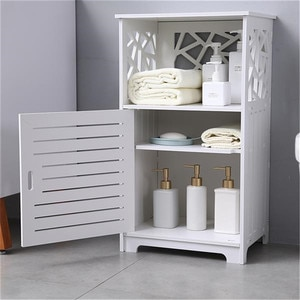 Bathroom Cabinet Single Door With Compartment Bedside Table PVC 41 x 30 x 70 cm Bathroom Toilet Furniture Cosmetic Storager