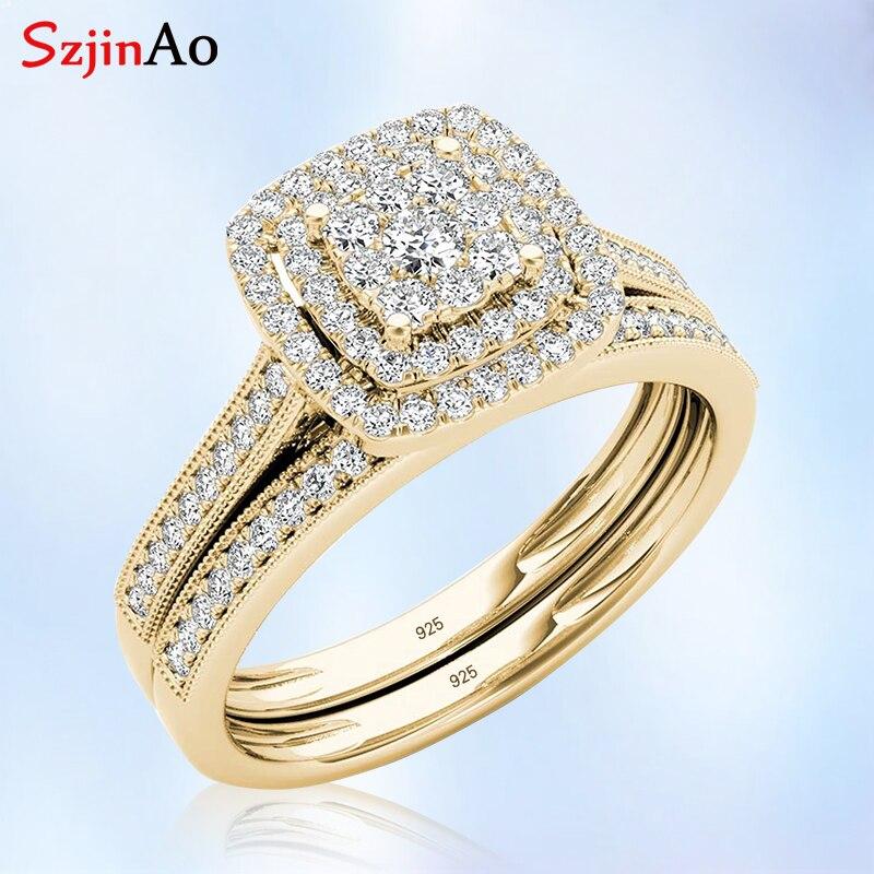 Szjinao, набор колец из стерлингового серебра 925 пробы, двойное обручальное ювелирное изделие, 2 кольца с бриллиантами, покрытые желтым золотом, женский подарок для свадьбы