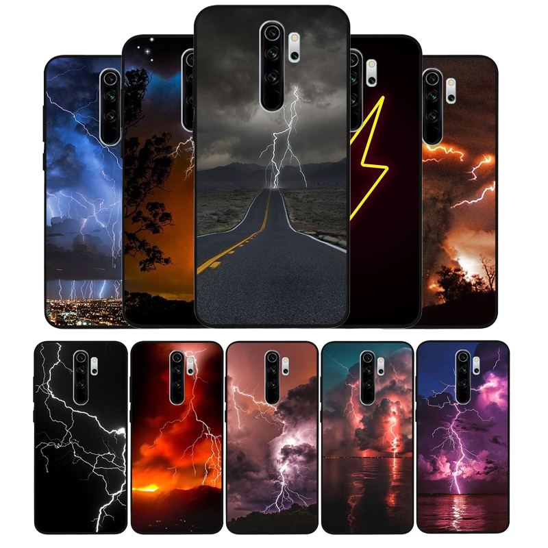 lightning Soft Silicone black Phone Case For Redmi 4A 4X 5PLUS 5A NOTE 9S 9 8T 8 7 6 5 4 PRO