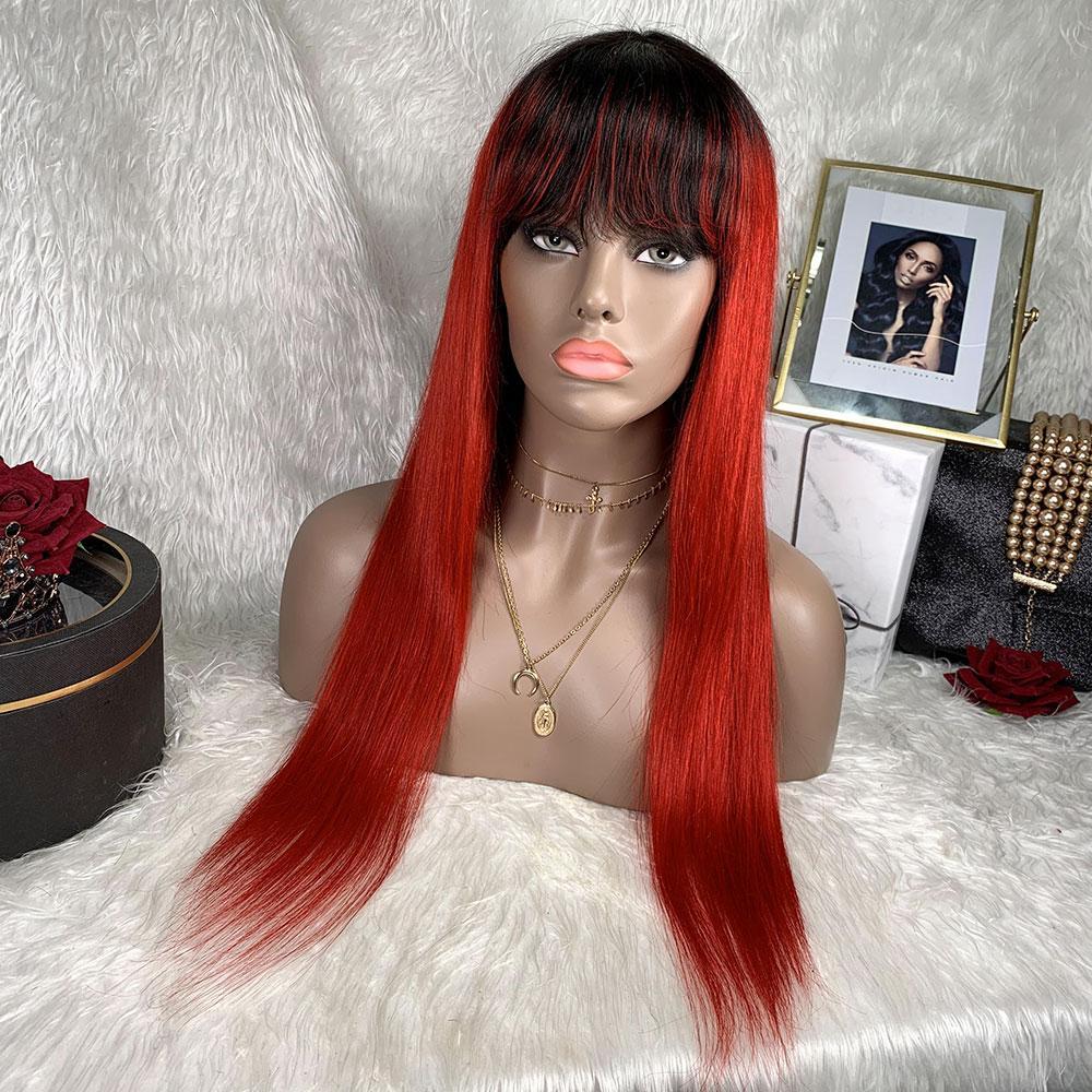 Red Bob With Bangs Human Hair Wig Machine Made Brazilian Remy Hair Wig Straight Glueless Bob Wig With Bangs Human Hair Wig