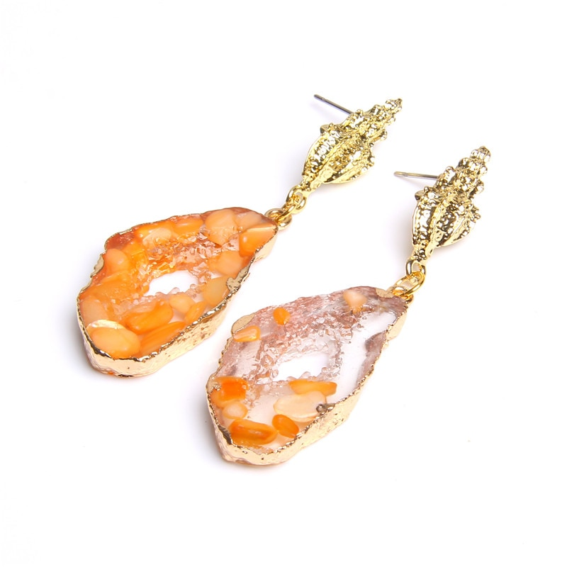 Chic Stone Hollow Druzy Resin Earrings Big Drop Earrings For Women Statement Jewelry Gifts For Women Accessories Brinco Earring