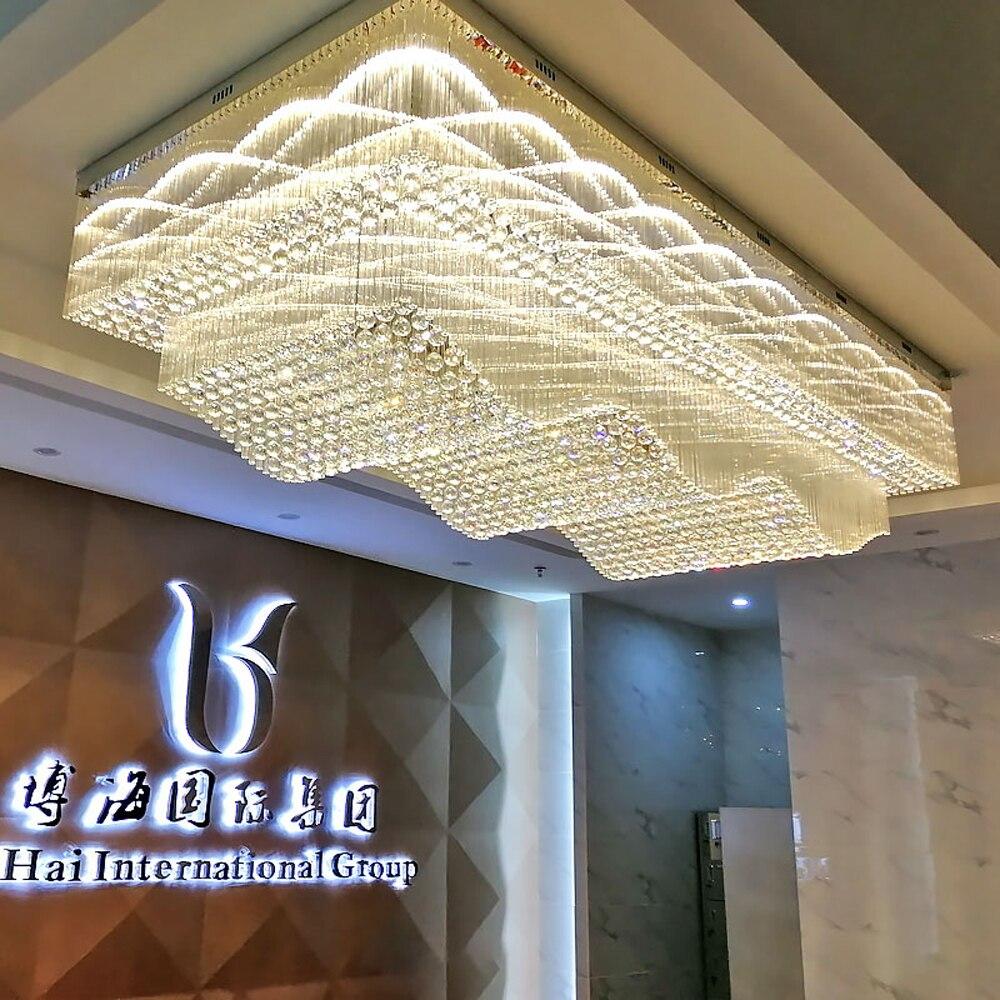موجة تصميم كبير ثريا تركب بالسقف الإضاءة الكريستال مصباح AC110V 220 فولت LED أضواء بهو ، الفاخرة فندق الثريات