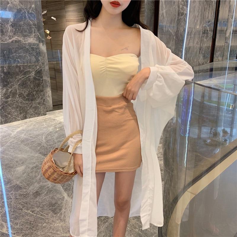 Camisa de gasa para mujer Kimono Cardigan negro blanco suelto Kimono Tops de las señoras Sun-protective 2020 Puff manga largos sencillos Full
