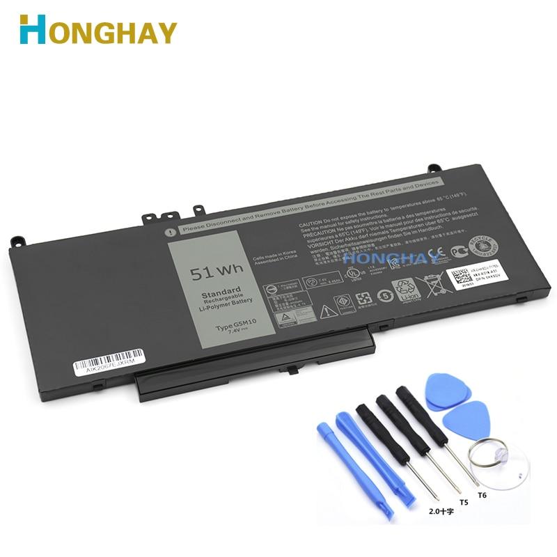Honghay G5M10 بطارية كمبيوتر محمول لديل خط العرض E5250 E5450 E5550 8V5GX R9XM9 WYJC2 1KY05 7.4V 51WH شحن أداة