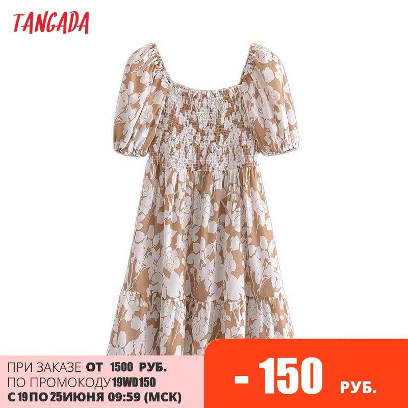 Tangada 2021 الصيف المرأة الأزهار طباعة فستان قصير ساحة الرقبة قصيرة الأكمام السيدات فستان قصير Vestidos 3A148