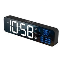 Digital Alarm Clock Voice Control Snooze Music LED Clock Temperature Date Display Table Clock Digital for Living Room Decor