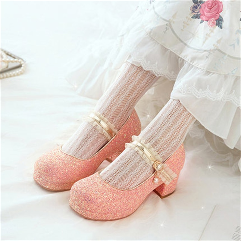 New Girls Princess Shoes Spring/Autumn Children Crystal Performance High Heels Student Kids Leather Shoes Baby Toddler 02B