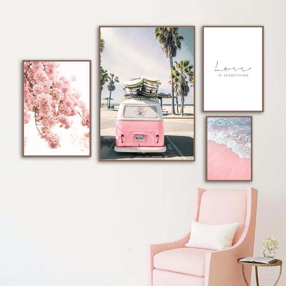 Cuadros de pared para carteles de sala de estar y impresiones de autobús Rosa cielo mar chica playa flor hojas lienzo Arte Abstracto hogar decoración