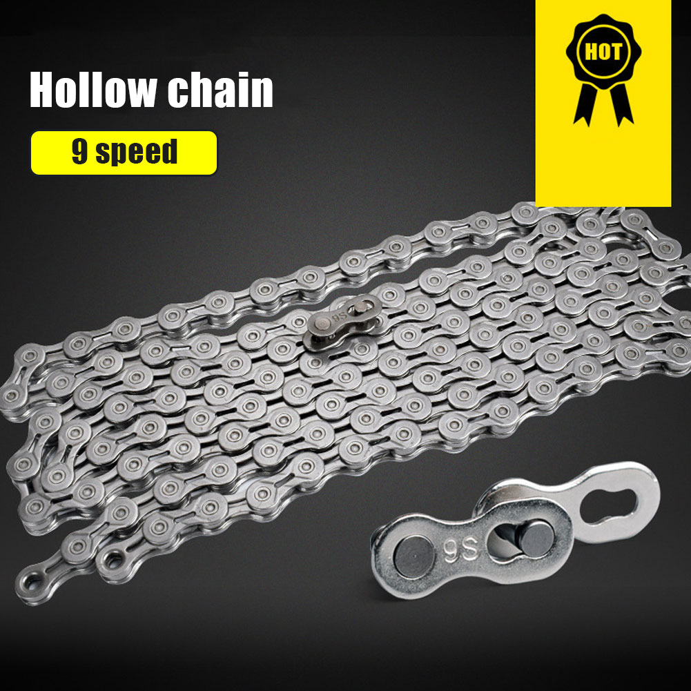 Фото - MTB Bicycle Chain 9/10 Speed Hollow Ultra Light Chain Bicycle General Chain Variable Speed Full Hollow Chains Bicycle Accessorie at full speed
