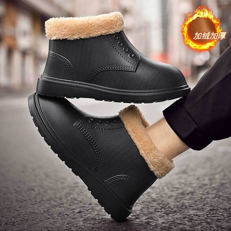 Leather Men Boots Winter with Fur 2022 Warm Snow Boots Men Winter Work Casual Shoes Sneakers High To