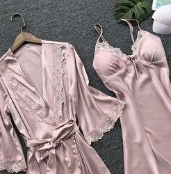 Simulação de seda pijamas de seda feminino terno de duas peças sexy tentação rendas suspensórios camisola roupão de banho pijamas vestido