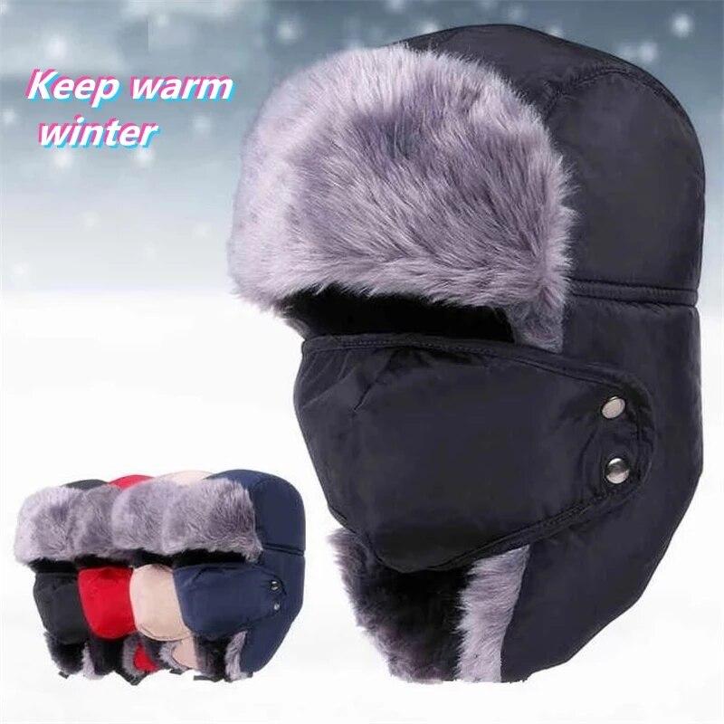 Winter Earflap Bomber Hats Caps Scarf Men Women Russian Trapper Hat Trooper Earflap Snow Ski Hat Cap