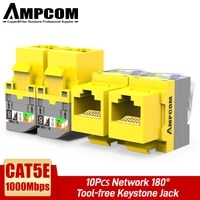 ampcom ul listed 10 pcs cat5e rj45 tool less keystone jack no punch down tool required utp module connector yellow