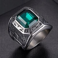 new retro bohemian green crystal inlaid ring for mens fashion punk rhinestone ring accessories party jewelry size 7 12